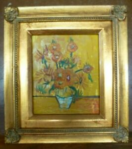 Miniature framed Small genuine Oil Painting Sunflowers in style of Van Gogh