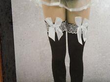 womens /teen girls over knee high socks stockings ~~  black w/ white bow