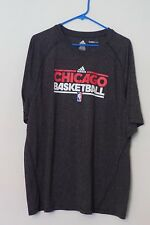 Men's Adidas Chicago Bulls Basketball Short Sleeve Gray Climalite Shirt Size XL