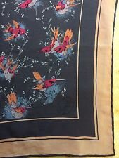 B1 Vtg Gucci 100% Silk Square Scarf Made In Italy Brown Birds Hummingbirds
