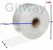 """8"""" x 725' Clear Poly Tubing Tube Plastic Bag Polybags Custom Bags on a Roll 6ML"""