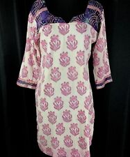 Vintage Tunic Top Pink Purple Paisley India  Cotton 3/4 Sleeves V Neck Med