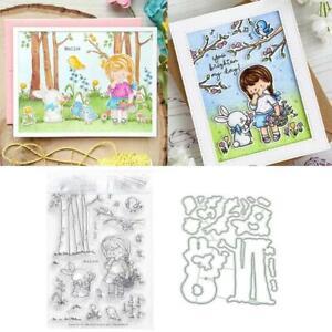 Mädchen Kaninchen Schneideisen Klare Stempel für DIY Scrapbooking Papierpräge