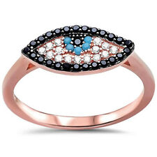Evil Eye Ring 925 Sterling Silver Round Simulated Nano Turquoise CZ Choose Color