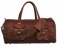 """21"""" Bag Leather Travel Duffle Men Luggage Gym Vintage Weekend Genuine Tote Large"""