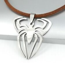 Silver Spiderman Spider Stainless Steel Pendant Mens Boys Brown Leather Necklace