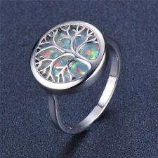 Women's Silver life Tree imitation Opal Gemstone Wedding Jewelry Ring Size 6