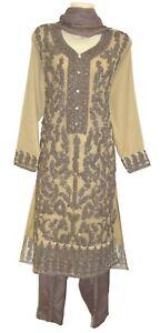 Eid Diamante Beige Embroidery Dress Kurta Shalwar Kameez Suit Bollywood Trouser