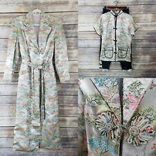 Vtg Vietnam War 3 Pc Set Asian Satin  Jacquard Brocade Pajama Lounge Set RARE