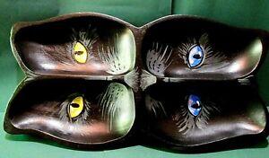 ORIGINAL HALLOWEEN PAINTING RYTA BLACK CAT OOAK Hand Painted ART DISH CANDY TRAY