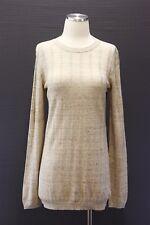NWT $875 Brunello Cucinelli Sparkly Gold Lurex Rib Knit Crewneck Sweater XL A176