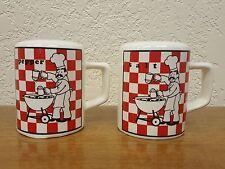 Vintage Red Checkerboard Grill Chef Range Top Ceramic Salt & Pepper Shaker Set