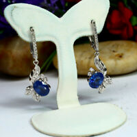 NATURAL 6 X 8 mm. OVAL BLUE SAPPHIRE & WHITE CZ EARRINGS 925 STERLING SILVER