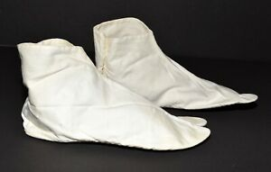 Vintage White Cotton Ribbed Sole Two Toe Womens Bootie Slippers Size 6 Japan