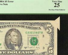 1988 A $5 DOLLAR BUTTERFLY FOLDOVER FOLD ERROR NOTE CURRENCY PAPER MONEY PCGS