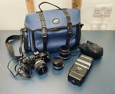 OLYMPUS OM2 N Bundle, with 24mm, 50mm, 100mm lenses, flash, bag