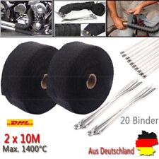 2x10m Titan Hitzeschutzband Auspuff Band bis 1400° Schwarz Hitzeschutz Krümmer C