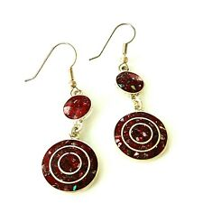 Alpaca Mexico Silver Earrings Circle Dangle Drop Red Inlay Pierced Hook