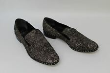 ADRIANNA PAPELL Ladies Black Leather Studded Flat Spot Print Loafer Shoes UK5.5