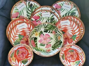 NEW Tommy Bahama Floral Hibiscus Bamboo Melamine 13 pc Set Plates Bowls Serving