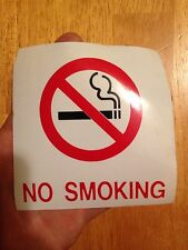No Smoking Window Decal Sticker Vinyl, 4 X 4 Inches