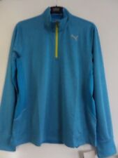 PUMA BLUE 1/4 ZIP - MENS RUNNING TOP - LARGE - CLOISONNE HEATHER - COOL CELL