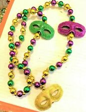 New ListingVtg Mardi Gras Big Masks New Orleans Beads Necklace Purple Green Gold