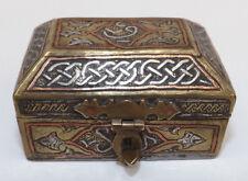Antique 19th Century Damascene Small Brass Silver & Copper Inlay Casket
