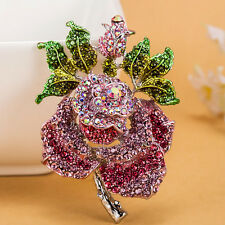 BIG 2 3/4'' PINK ROSE FLOWER BROOCH MADE WITH SWAROVSKI CRYSTALS NEW