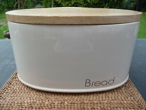 Oval Ceramic Bread Bin With Wooden Lid by Rayware
