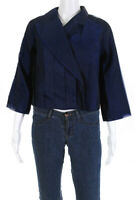 Paula Hian Womens Pleated Cropped Long Sleeve Blazer Jacket Metallic Blue Size 4