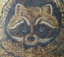 Folk Art Bark Section Of Wood With Truffle Image Of Raccoon Hand Done In Good Cd