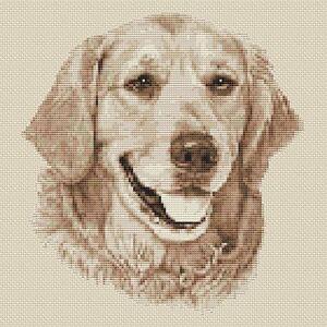 "Golden Retriever Dog Cross Stitch Design (Sepia,10""x10"",25x25cm,kit or chart)"