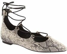 Topshop Womens Gray Grey Ghillie Snakeskin Lace-up Pointy Toe Dress Shoes SZ7.5