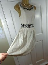 Warehouse Cream Jewelled 100% SILK Lined Dress, UK 10, Excellent Condition