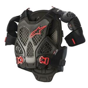 NEW Alpinestars A6 Chest Armour - Black/Anthracite Red from Moto Heaven