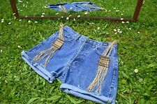 VERSACE Ladies Vtg 90s Denim Jeans Shorts High Waist Custom Hot Pants sz 32 M35