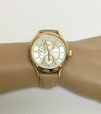 NEW FOSSIL ROSE GOLD TONE,BEIGE,TAN TAUPE LEATHER BAND,CRYSTAL DIAL WATCH-BQ1586