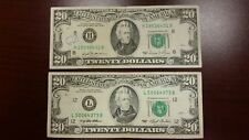 Lot of 2 Two Old $20 US Notes Bills (1981-1993) $40.00 Face Value