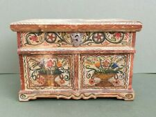 Antique Miniature of a Marriage Chest, Hand-painted, dated 1795, secret drawer