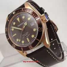 41mm Parnis coffee dial date Sapphire glass miyota automatic mens watch P993