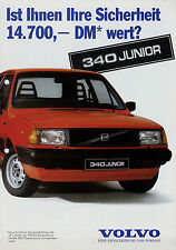 Volvo 340 Junior Prospekt 1985 Autoprospekt brochure broschyr brosjyre Katalog