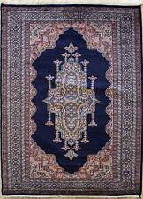 Rugstc 4x6 Pak Persian Blue Area Rug, Hand-Knotted,Medallion with Silk/Wool Pile