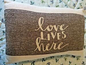 """Country Farmhouse NEW Pillow """"Love lives here"""" Home Decor."""