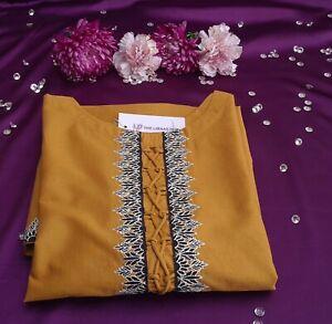 Ladies Kurta Pakistani Indian Kurti Women's Embroidery Shirts Tops  Kameez S,L