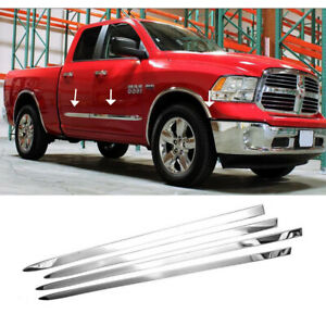 Fit 2009-2017 2018 Dodge Ram 1500 Chrome Side Moldings Stainless Steel Polished
