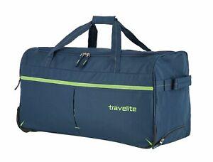 travelite Basics Fast Trolley Reisetasche Trolley Tasche Marine / Limone Blau