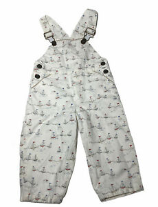Jacadi Baby Boys Overalls Size 18 Months, Red Blue White Sailboats(G3)