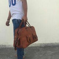 Martin Leather Bag Genuine Travel Men Duffle Vintage Weekend Luggage Overnight