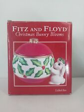 Fitz And Floyd Christmas Bunny Blooms Lidded Canister Jar With Original Box